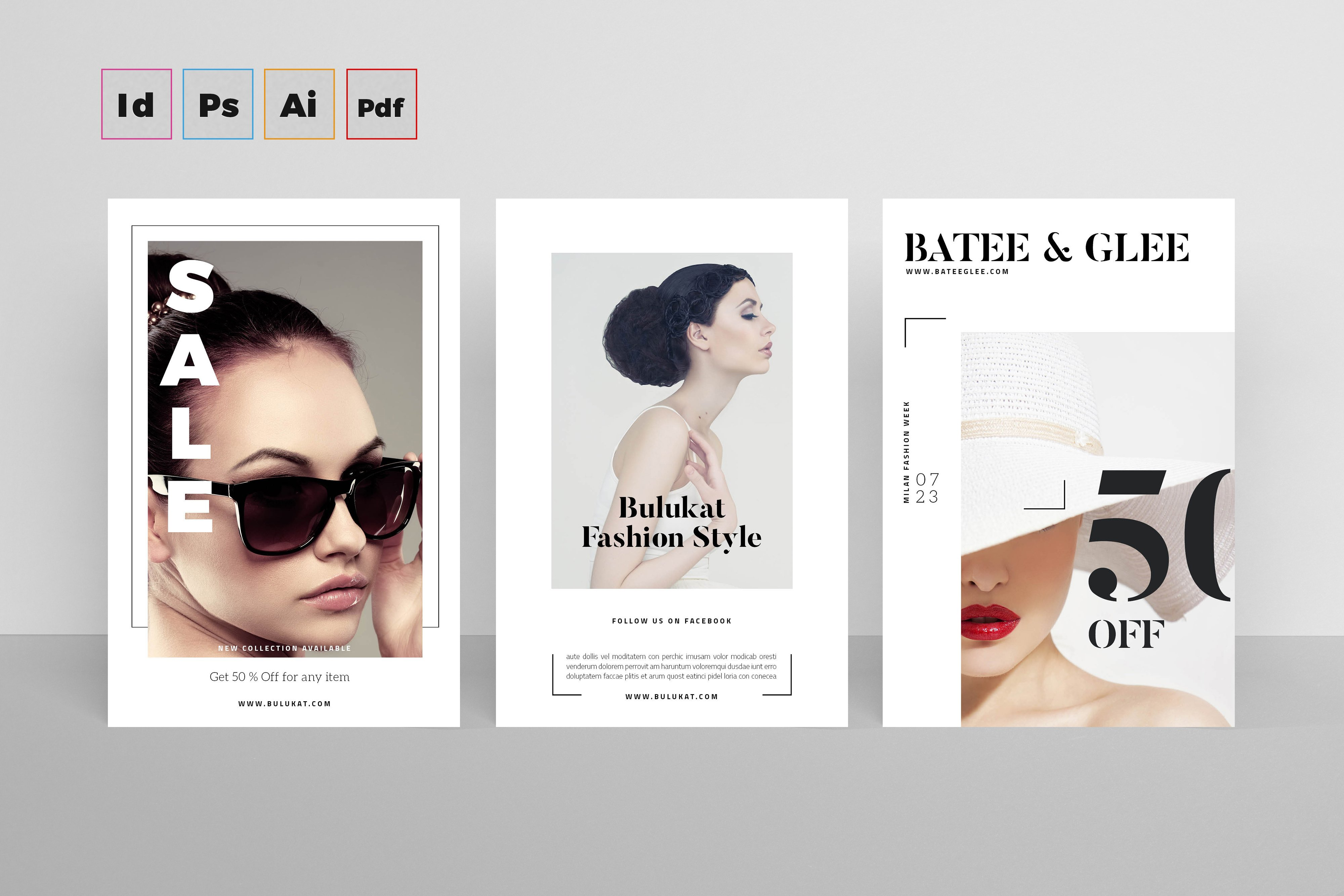postcard flyers fashion card templates creative market. Black Bedroom Furniture Sets. Home Design Ideas