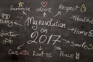 Chalk painted plan of 2017 resolution
