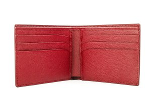 Red leather wallet isolated