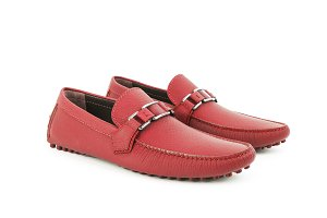 Red leather loafers isolated