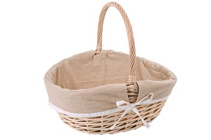 Vintage wicker basket isolated