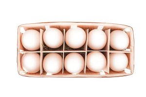 Raw Eggs in a wooden box