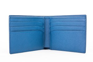 Blue leather wallet isolated