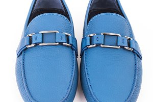 Blue leather loafers shoe