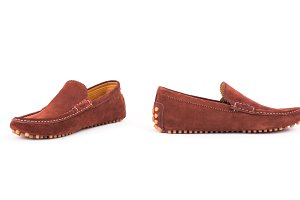 Brown suede leather loafers shoes