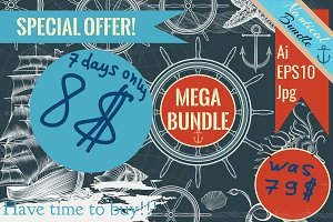 Nautical bundle in retro style