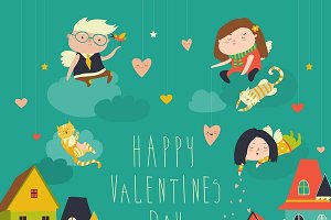 Angels celebrating Valentines Day