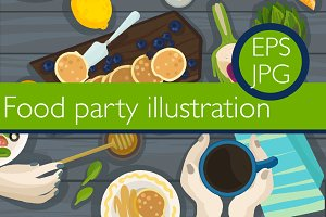 1 Food party illustration