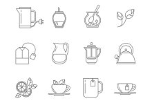 Tea thin line vector icons set
