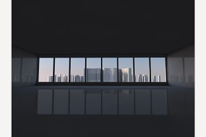 Window to city 3D rendering
