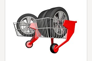 Shopping trolley. 3D rendering