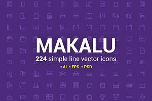 Makalu: 224 simple line vector icons