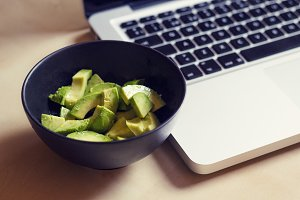 Avocado and laptop