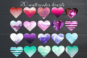 Watercolor Hearts in Pastel Colors