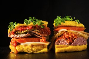 Italian sandwich with sausage