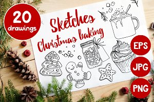 Sketch of food. Christmas baking