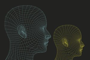 Two wireframe human heads
