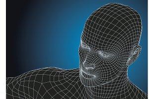 wireframe futuristic man