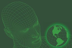 wireframe man looking at world