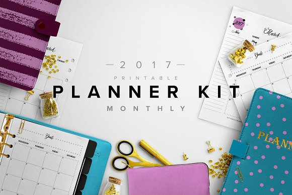 2017 monthly planner kit 3 sizes stationery templates creative
