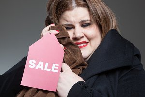 Happy woman on sales