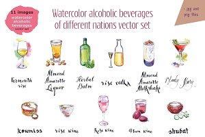 Watercolor alcohol-3 vector set