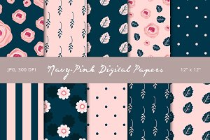 50% Off! Navy - Pink Digital Papers