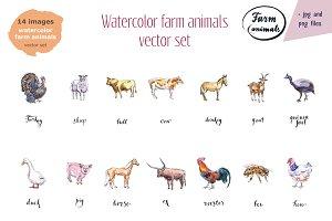 Watercolor farm animals