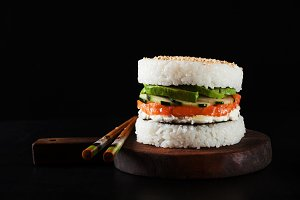 sushi menu with burger