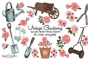 Vintage gardening 13 vector clipart