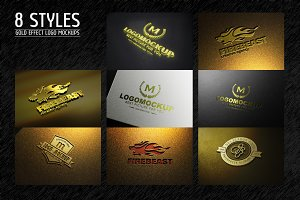 8 Styles Gold Effect Logo Mock-ups