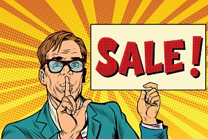 Retro businessman secret sale