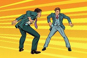 Duel businessmen smartphones western