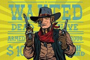 Steampunk robot bandit wild West