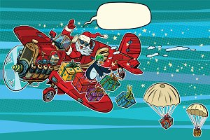 Santa Claus on vintage planes