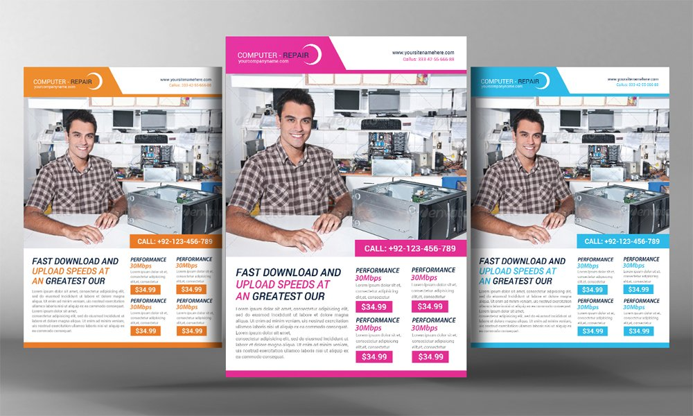 Computer Repair Flyer Template Flyer Templates on Creative Market – Computer Repair Flyer Template