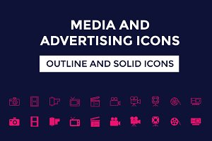 100+ Media and Advertising Icons