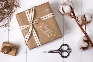 Gift Box & Cotton flower Mock-up PSD