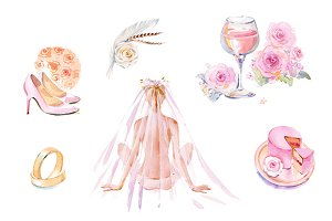 Wedding watercolor clipart set