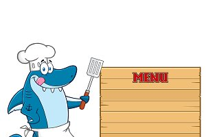 Chef Blue Shark Holding A Spatula