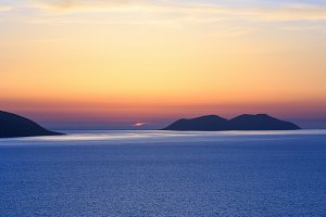 Adriatic sea sunset view (Albania).