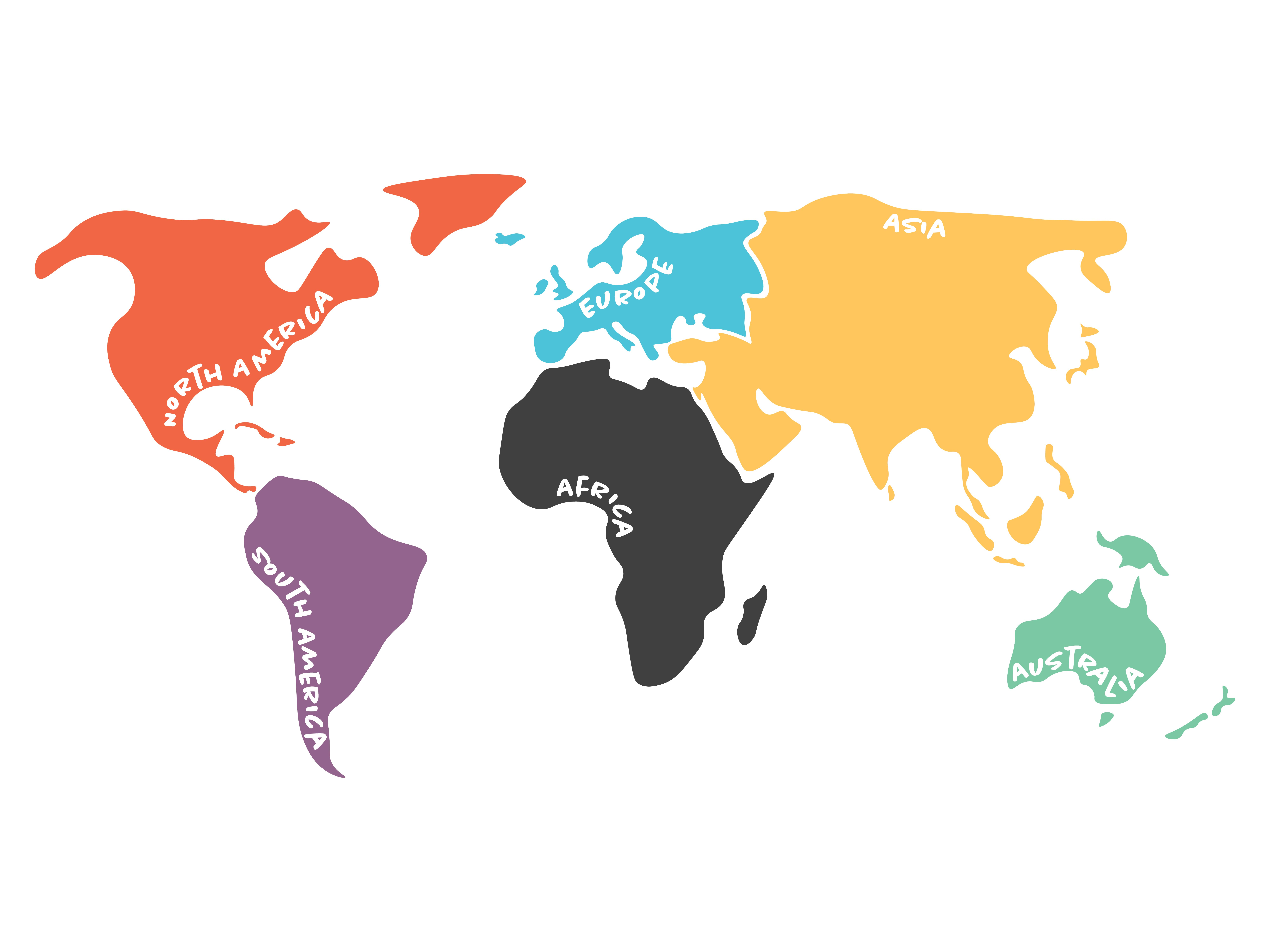 Map of continents ~ Illustrations ~ Creative Market