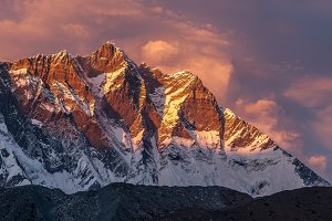 Mt. Lhotse at sunset, Himalayas