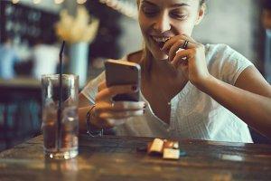 pretty woman using phone