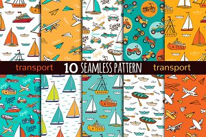 10 transport seamless pattern