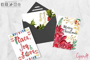 Christmas greeting cards watercolor