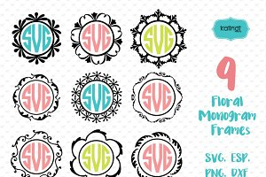 9 Circle Monogram Frames SVG
