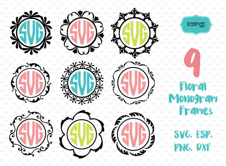 9 Circle Monogram Frames SVG ~ Illustrations ~ Creative Market