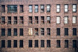 abandoned brick building windows