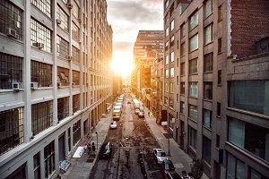 sunset light on New York street